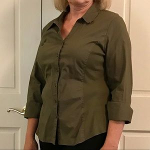 Olive green shirt. Two types of fabric.